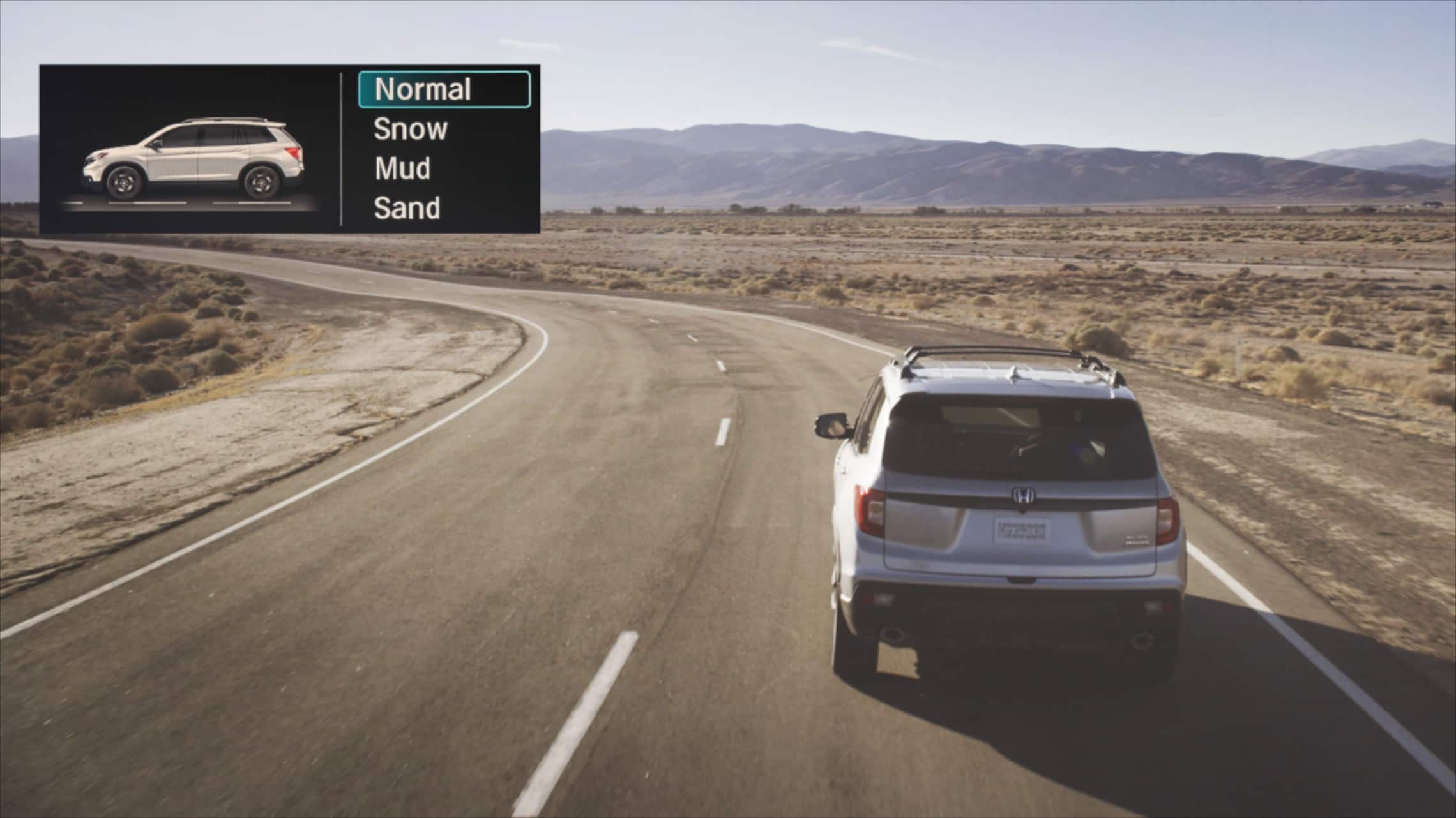Animation of 2020 Honda Passport AWD Elite driving in various road conditions with inset of corresponding Intelligent Traction Management screens.