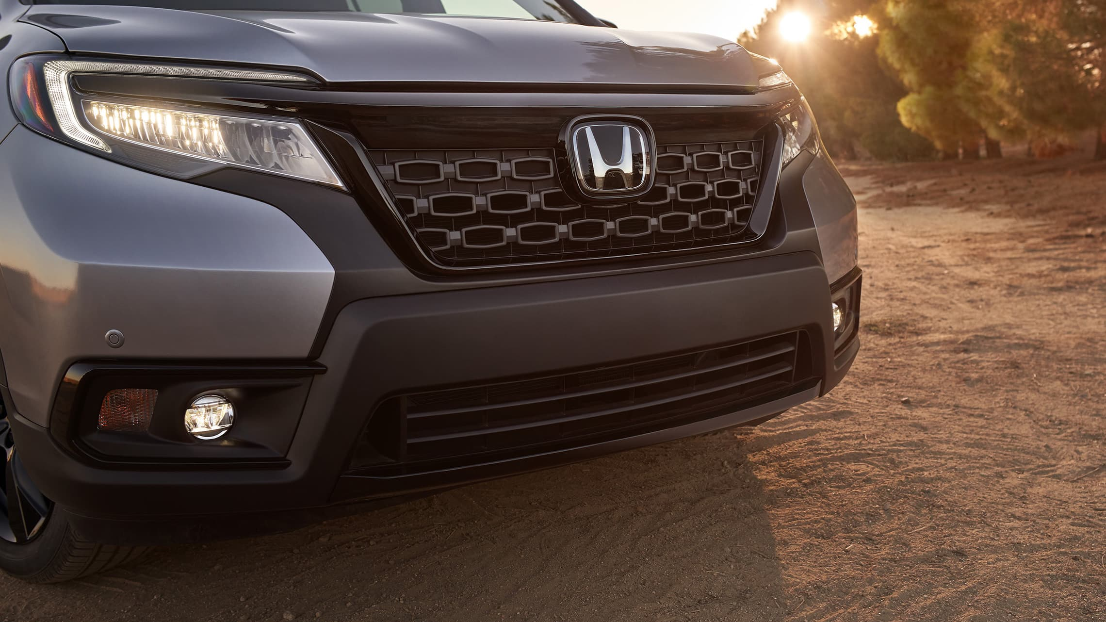 Grille detail on the 2020 Honda Passport Elite in Lunar Silver Metallic.